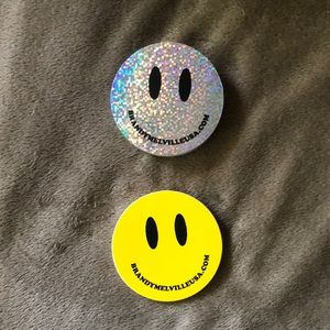 10x Sliver Smiley Face Brandy Melville Stickers